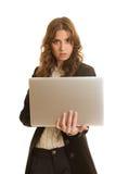 有膝上型计算机的美丽的女实业家 库存图片