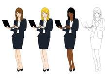 有膝上型计算机的集合逗人喜爱的女商人 充分机体 库存图片
