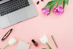 有膝上型计算机的,郁金香办公桌开花,化妆用品,在笔的玻璃在桃红色背景 平的位置 顶视图 免版税库存照片