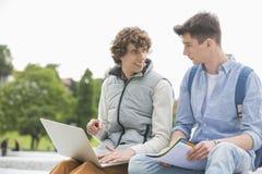 有膝上型计算机的年轻男性学院朋友一起学习在公园的 免版税库存照片