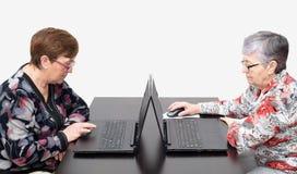 有膝上型计算机的年长妇女 免版税库存图片