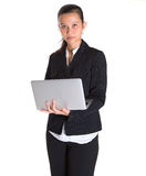有膝上型计算机的VII亚裔女实业家 免版税库存图片