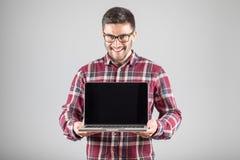 有膝上型计算机陈列的人screeen 免版税图库摄影