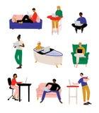 有膝上型计算机集合的工作或放松使用计算机,做自由职业者或人脉概念的人们,年轻人和妇女 皇族释放例证