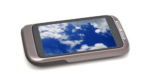 有自然屏幕墙纸的智能手机 图库摄影