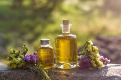 有自然芳香油的瓶 免版税库存图片