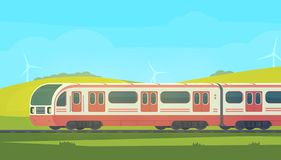 有自然风景的Passanger现代电高速列车在一个多小山区域 库存例证