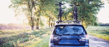 有自行车的汽车在森林公路 免版税库存照片
