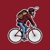 有自行车的胡子人 免版税库存图片