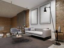 有舒适的灰色长沙发的宽敞现代开放学制顶楼客厅在座位 库存例证
