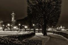 有船嘴装饰的专栏地标圣彼得堡夜 免版税库存照片