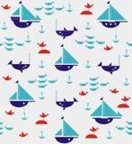有船锚、鲨鱼、鱼和海鸥的风船 免版税库存图片