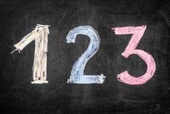 有色的数字的黑板 免版税库存图片