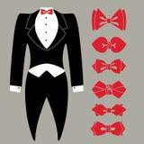 有色的蝶形领结集合的传染媒介无尾礼服 免版税库存图片