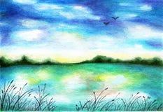 有芦苇的湖在岸 额嘴装饰飞行例证图象其纸部分燕子水彩 免版税库存照片
