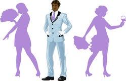 有芭蕾舞团的可爱的美国黑人的人 免版税图库摄影