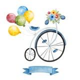 有花、多彩多姿的气球和丝带横幅的自行车 库存例证