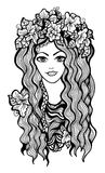 有花冠的美丽的黑白女孩 库存图片