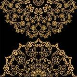 有花卉主题的坛场瓦片 与金属色泽的金子梯度 向量例证