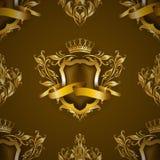 有花卉元素的金黄皇家盾 库存图片