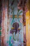 有花卉艺术的现代派墙壁 免版税图库摄影