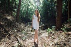 有花和一件白色礼服花束的女孩在一个晴朗的森林里 免版税图库摄影