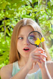 有花和放大镜的女孩 免版税图库摄影