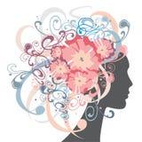 有花和装饰品的女孩在头发 库存照片