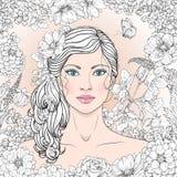 有花和蝴蝶的蓝眼睛的女孩 库存例证