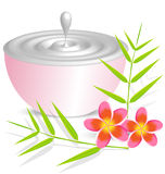 有花和bambo的秀丽奶油色容器 库存图片