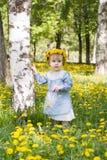 有花圈的俏丽的女孩在草甸 库存图片