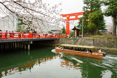 有花托的冈崎运河 免版税库存图片