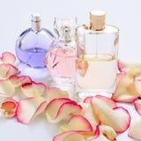 有花瓣的香水瓶在轻的背景 香料厂,芬芳汇集 妇女辅助部件 免版税图库摄影
