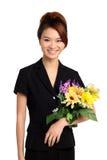 有花的亚裔妇女 免版税库存图片