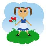 有花的小女孩 免版税库存照片