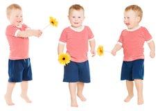 有花的儿童男孩,愉快的孩子被隔绝在白色 免版税图库摄影