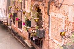 有花的墙壁在威尼斯 免版税库存照片