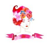 有花的女孩在您的头发 向量例证