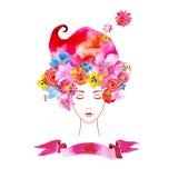 有花的女孩在您的头发 库存例证