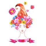 有花的女孩在您的头发 皇族释放例证