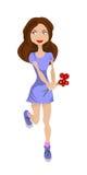 有花的女孩,滑稽的漫画人物 免版税库存图片