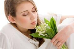有花的妇女 库存图片