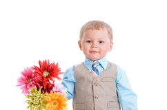 有花的小男孩 库存图片