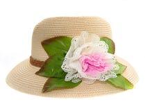 有花的帽子被隔绝在白色背景 库存图片