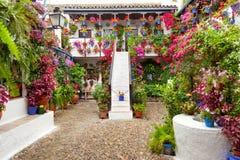 有花的庭院装饰了-露台费斯特,西班牙,欧洲 库存照片