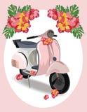 有花的桃红色小型摩托车 免版税库存照片