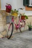 有花的桃红色自行车在房子的墙壁附近 免版税库存图片
