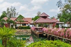 有花的桥梁横跨海湾在一个热带庭院里 库存照片