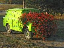有花的汽车 免版税库存照片