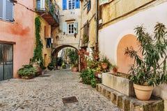 有花的狭窄的街道在老镇在法国 图库摄影
